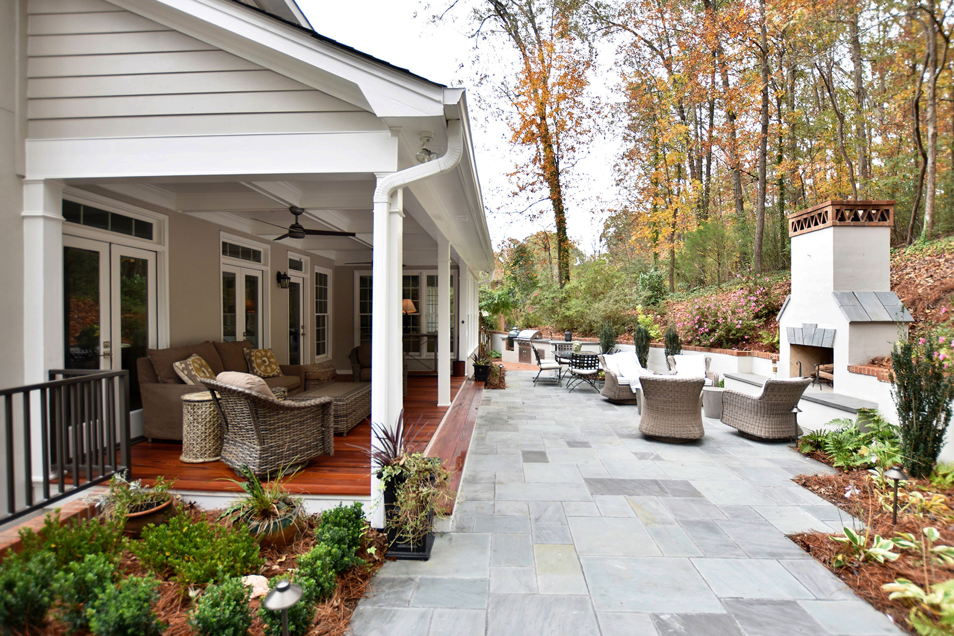 Outdoor Living Room and Outdoor Fireplace