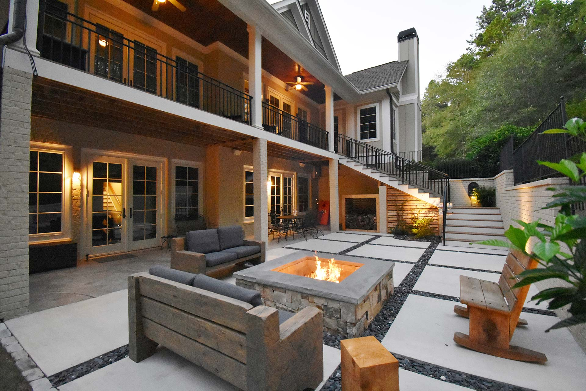 Concrete squares and custom fire pit