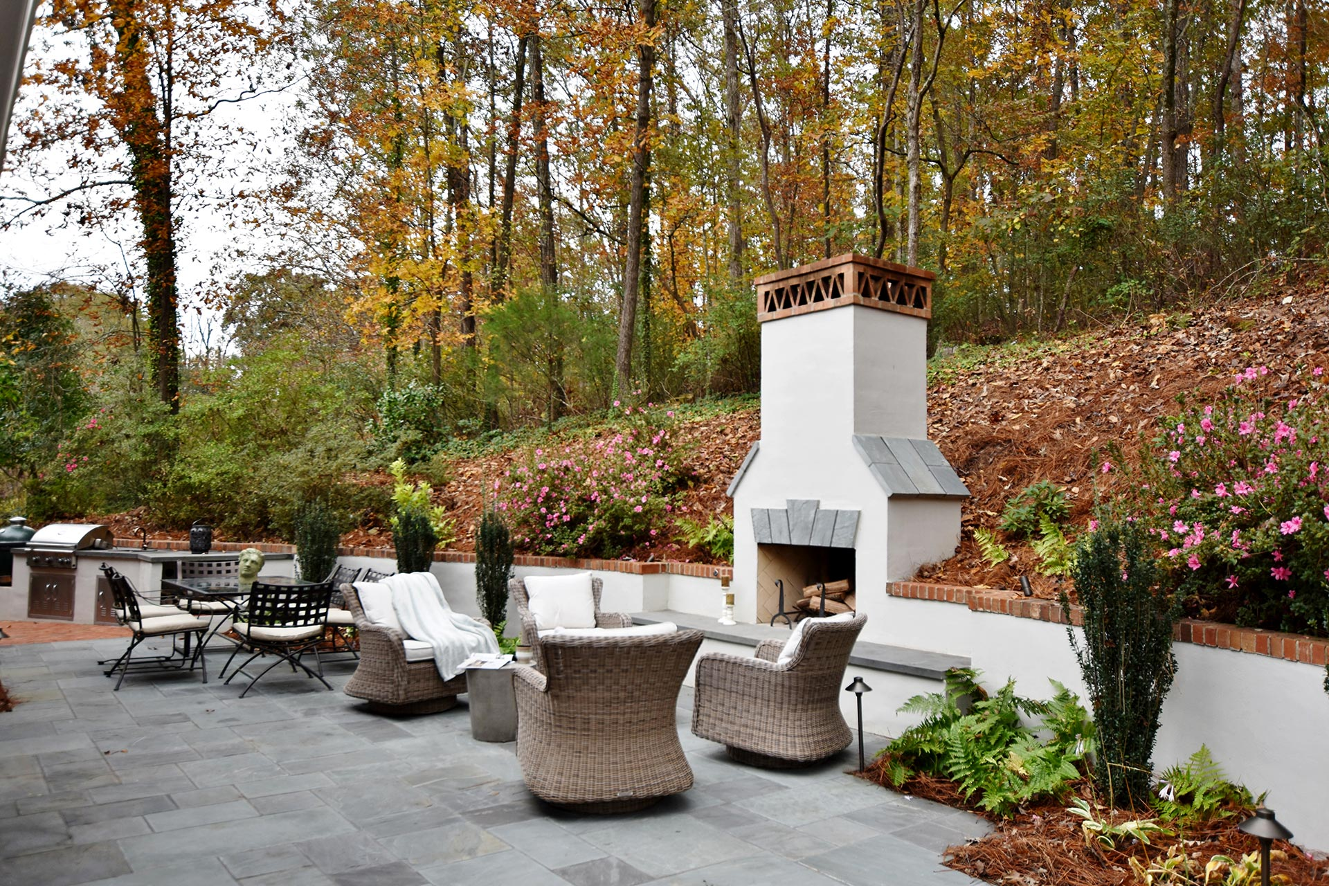 Custom Outdoor Fireplace and Bluestone Patio