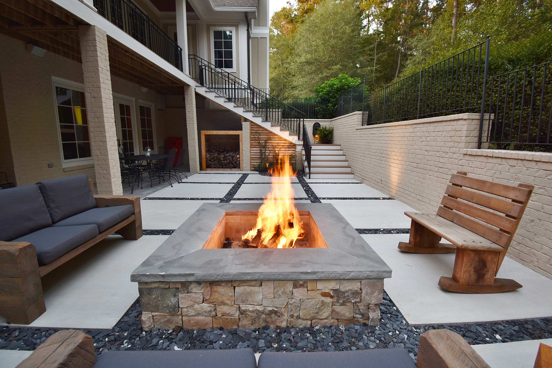Custom built outdoor fire pit
