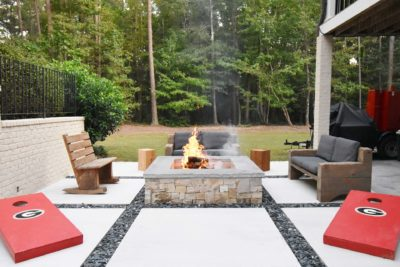 Outdoor patio and custom fire pit