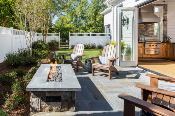 Indoor Outdoor Kitchen with Firepit