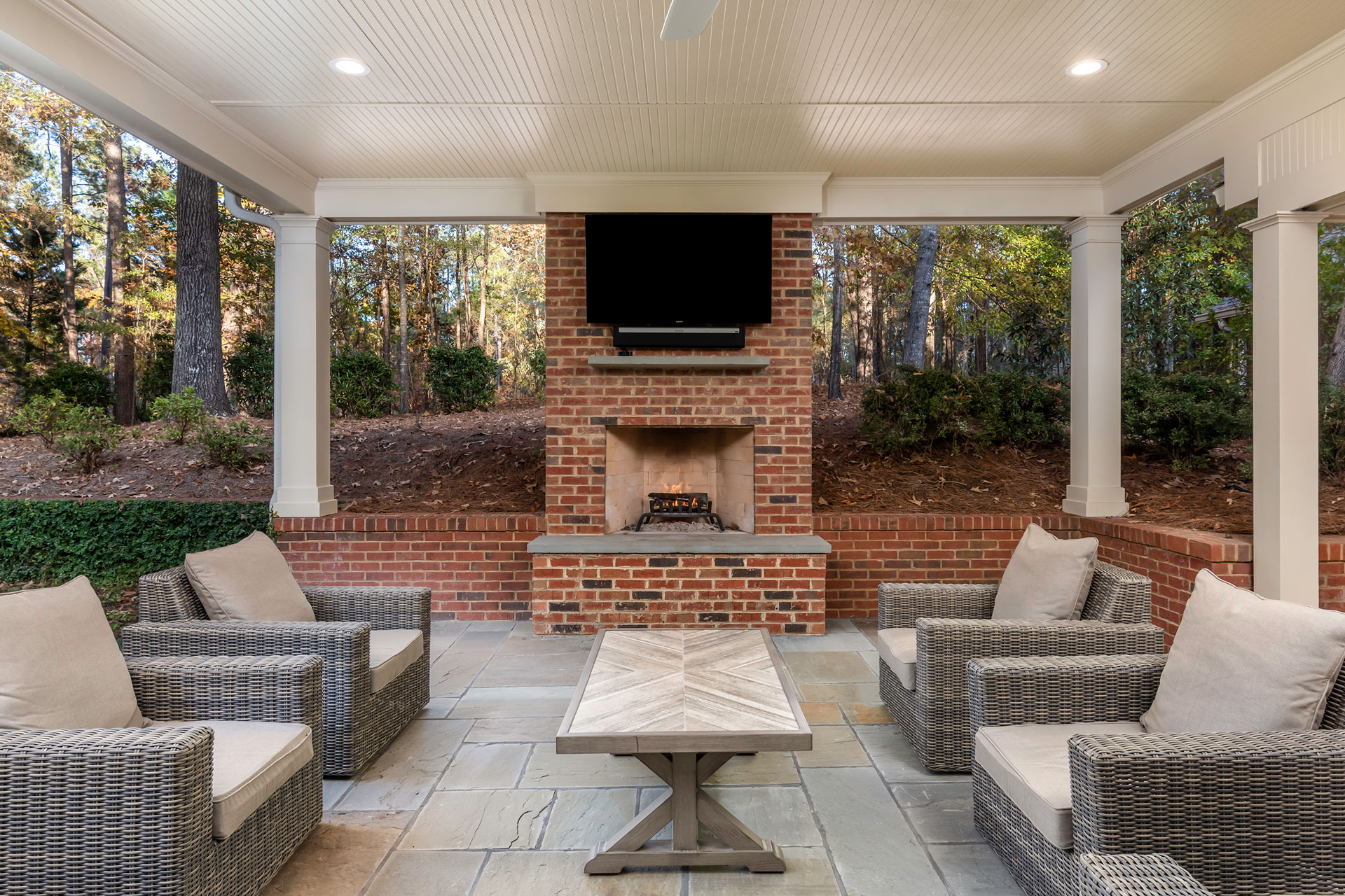 outdoor patio fireplace landscape design athens ga
