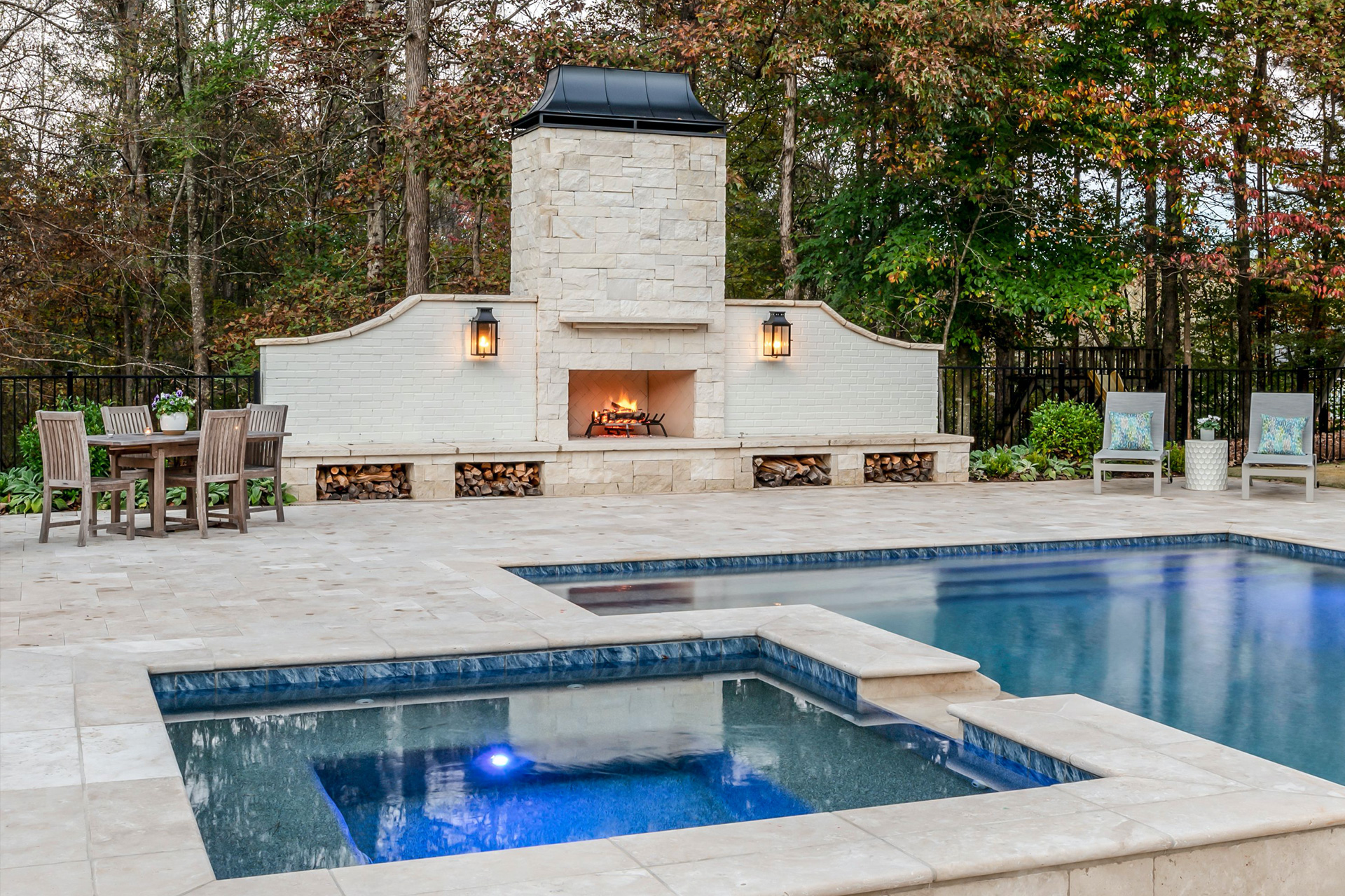 Pool Design Custom Limestone Fireplace with Travertine Pool Deck