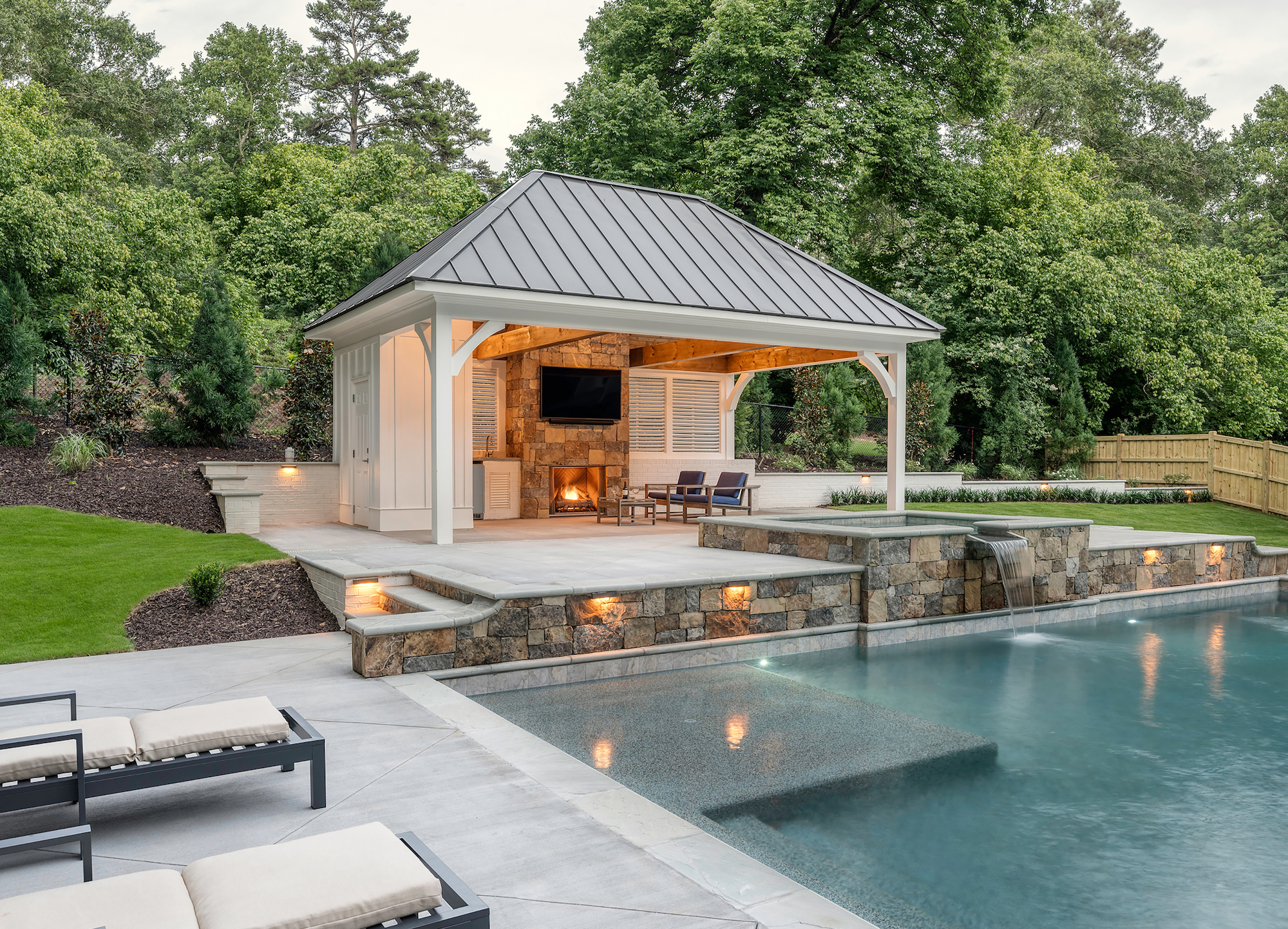 Side view of pool and cabana